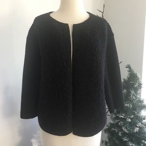 Ann Taylor Black wool open front cardigan small